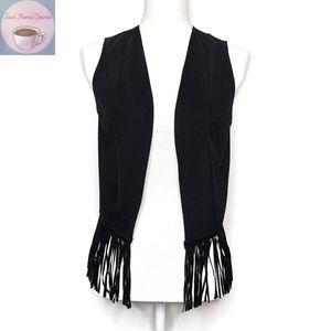 Eight Sixty Sleeveless Fringe Hem Vest Black